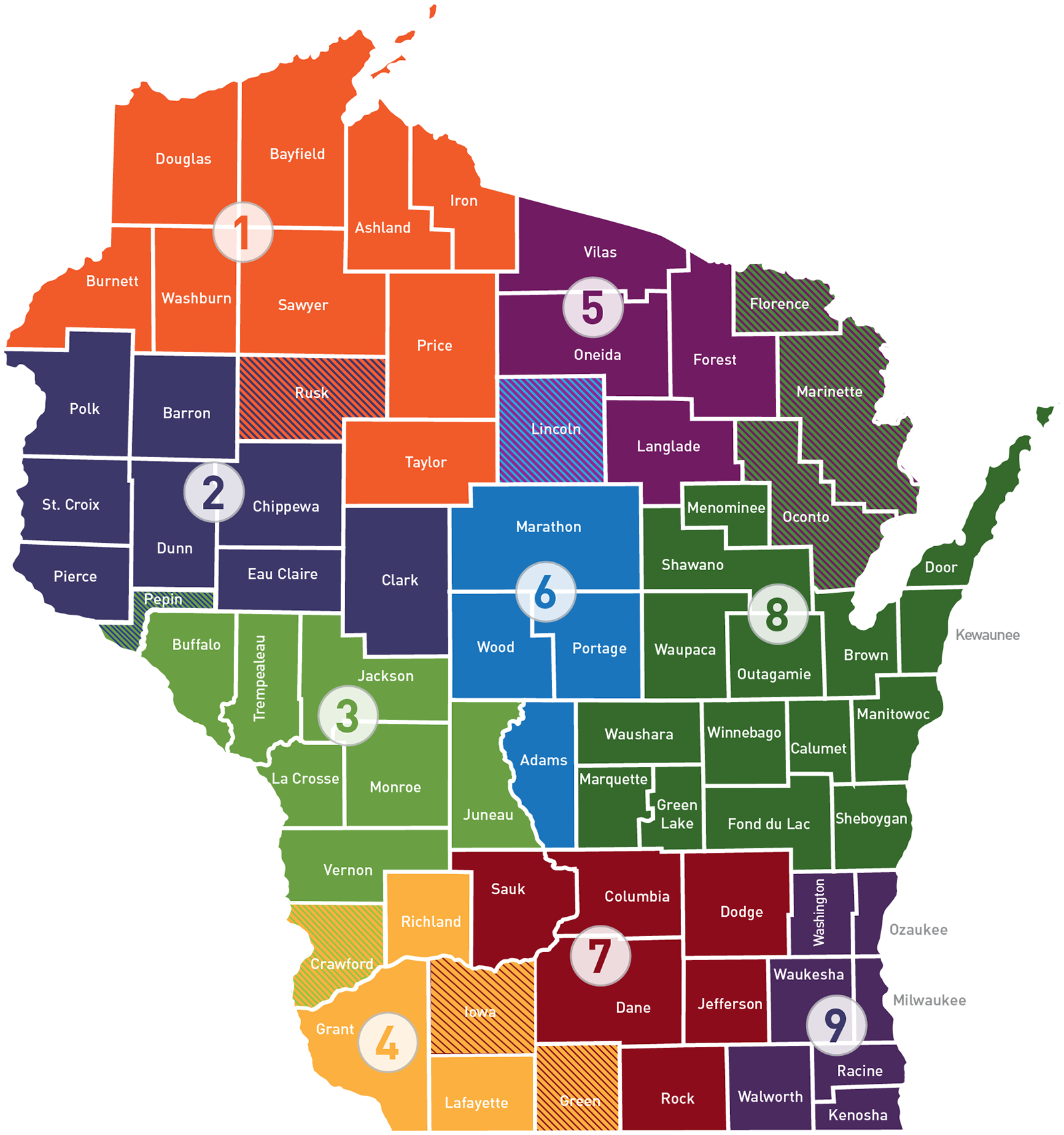 Wisconsin Regional Economic Development Organizations map