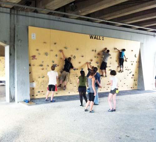 Underpass climbing wall