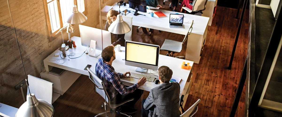 Young business people working on a startup office