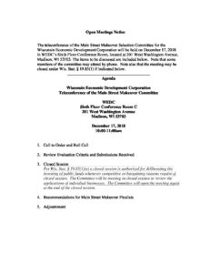 20181217 Main Street Makeover Selection Committee Agenda Wedc