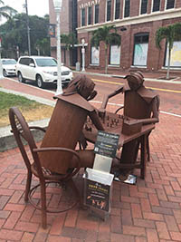 Rusted metal artwork at a table in Fort Myers, Florida