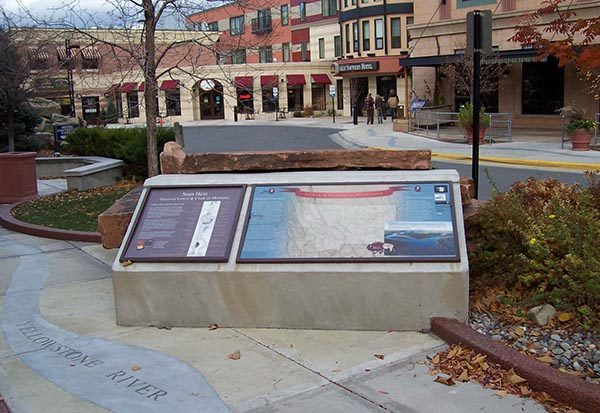 Lewis and Clark informational streetscape in Helena, Montana