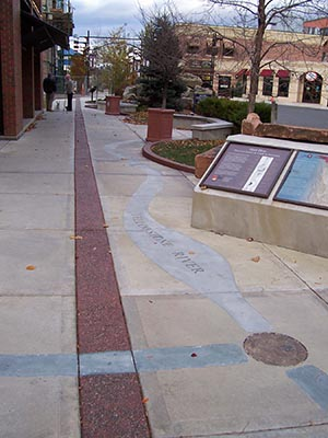 Pathway in a Lewis and Clark informational streetscape in Helena, Montana