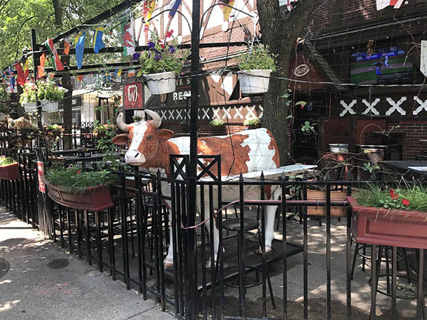 State Street Brats in Madison feature cow statues and flags
