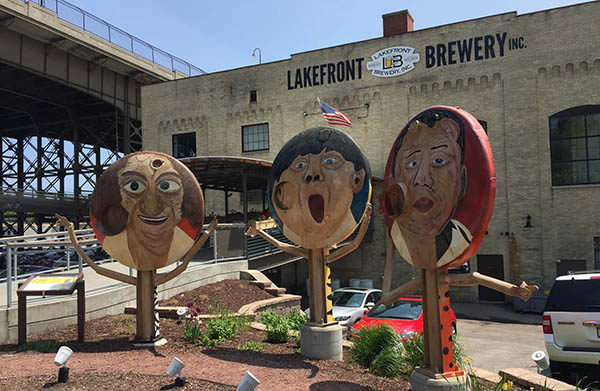 Larry, Moe and Curly statues outside Lakefront Brewery in Milwaukee