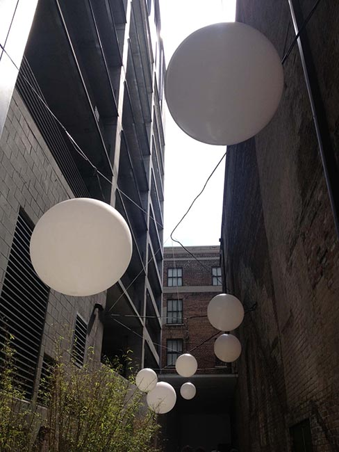 An alley with a funky light display in New Orleans
