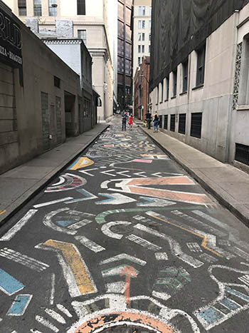 A funky alley mural in Pittsburgh