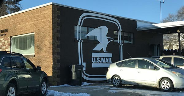Post office logo mural in Princeton, Wis.