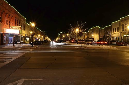 Holiday lights outline the building facades in Ripon, Wis. to highlight city's architecture