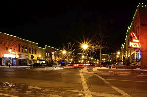 Holiday lights outline the building facades in Ripon, Wis.