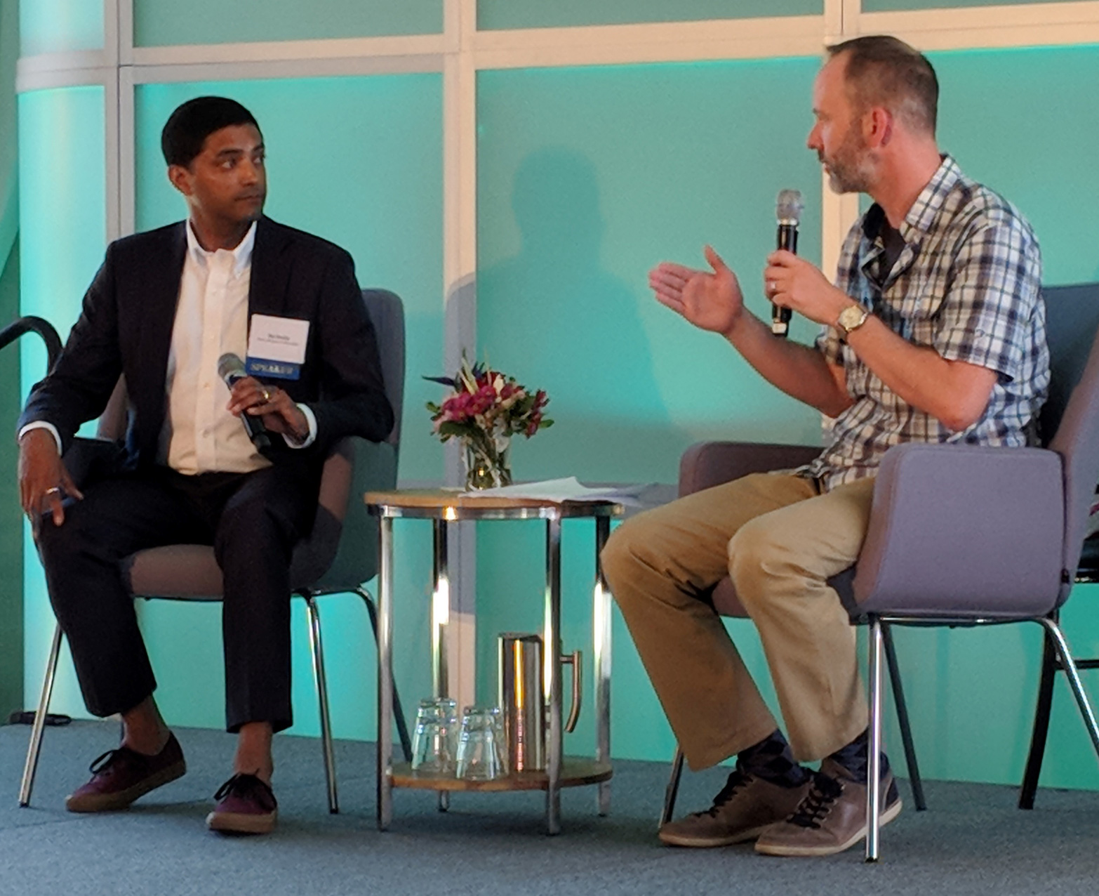 Raj Shukla of the River Alliance of Wisconsin and Matt Howard of the Alliance for Water Stewardship discuss the Clear Water Farms Program at the Water Leaders Summit in Milwaukee on June 27.