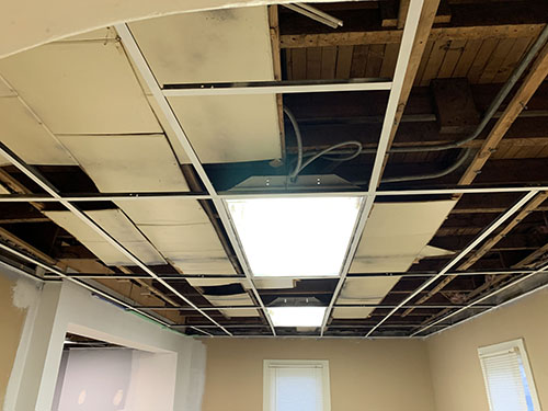 Fixing the ceiling at Anthony's