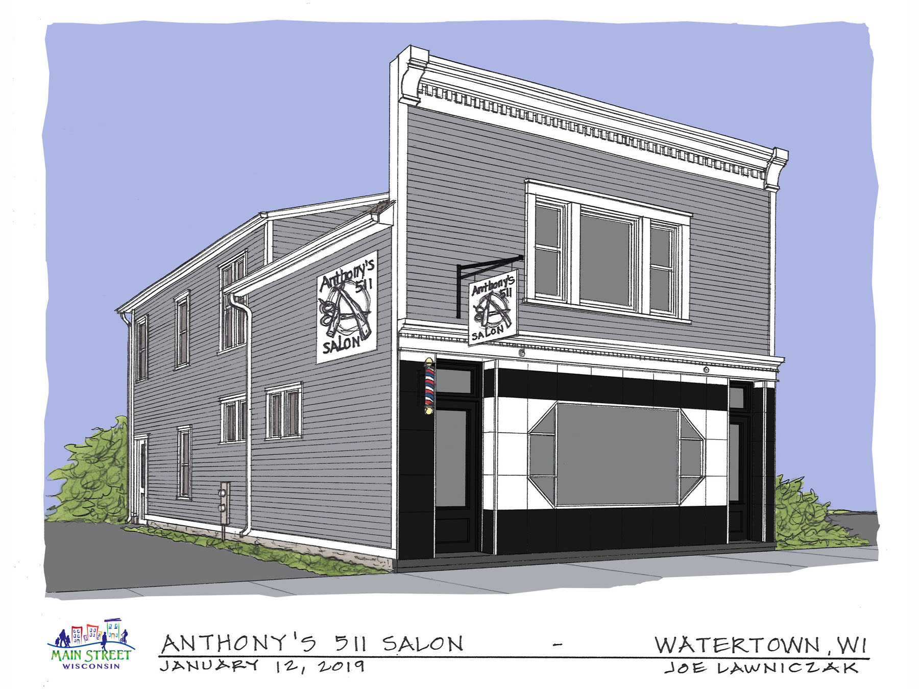 Facade drawing of Anthony's Main Street Makeover