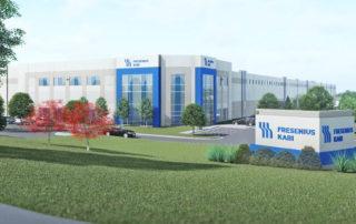 Rendering of new Fresenius Kabi regional distribution center in Pleasant Prairie