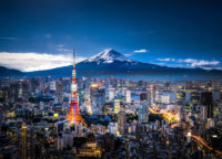 View of Mt. Fuji and Tokyo skyline at dusk