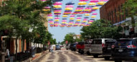 Umbrellas over 3rd Street in Wausau