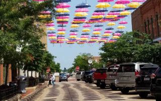 Umbrellas over 3rd Street in Wausau