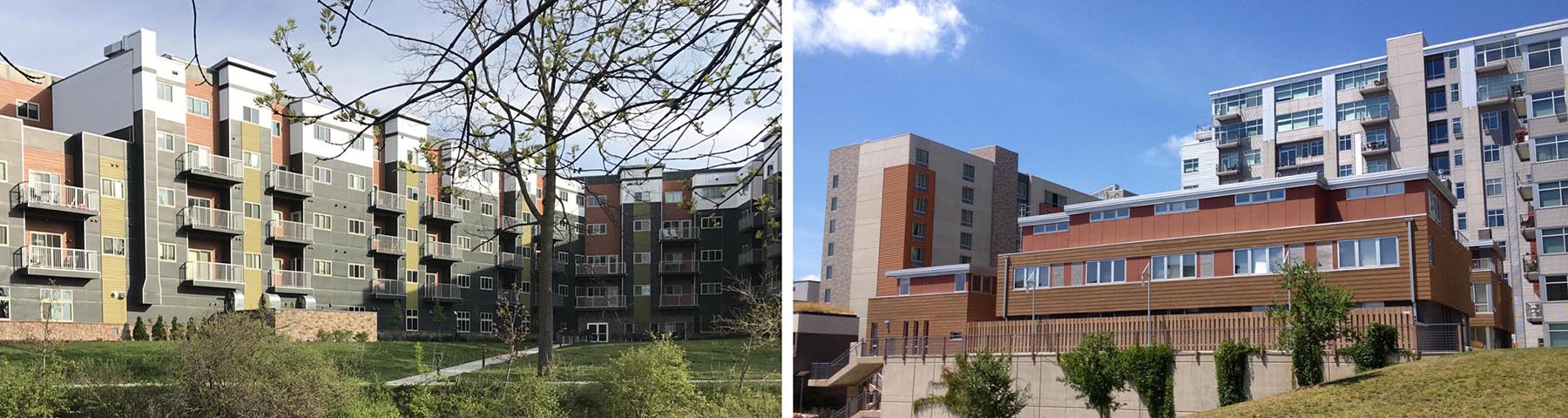 Examples of new standalone building developments showing proper design strategies