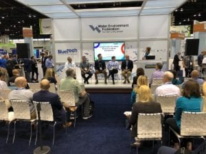 Members of the 2019 BREW Accelerator cohort participate in a panel discussion at WEFTEC 2019