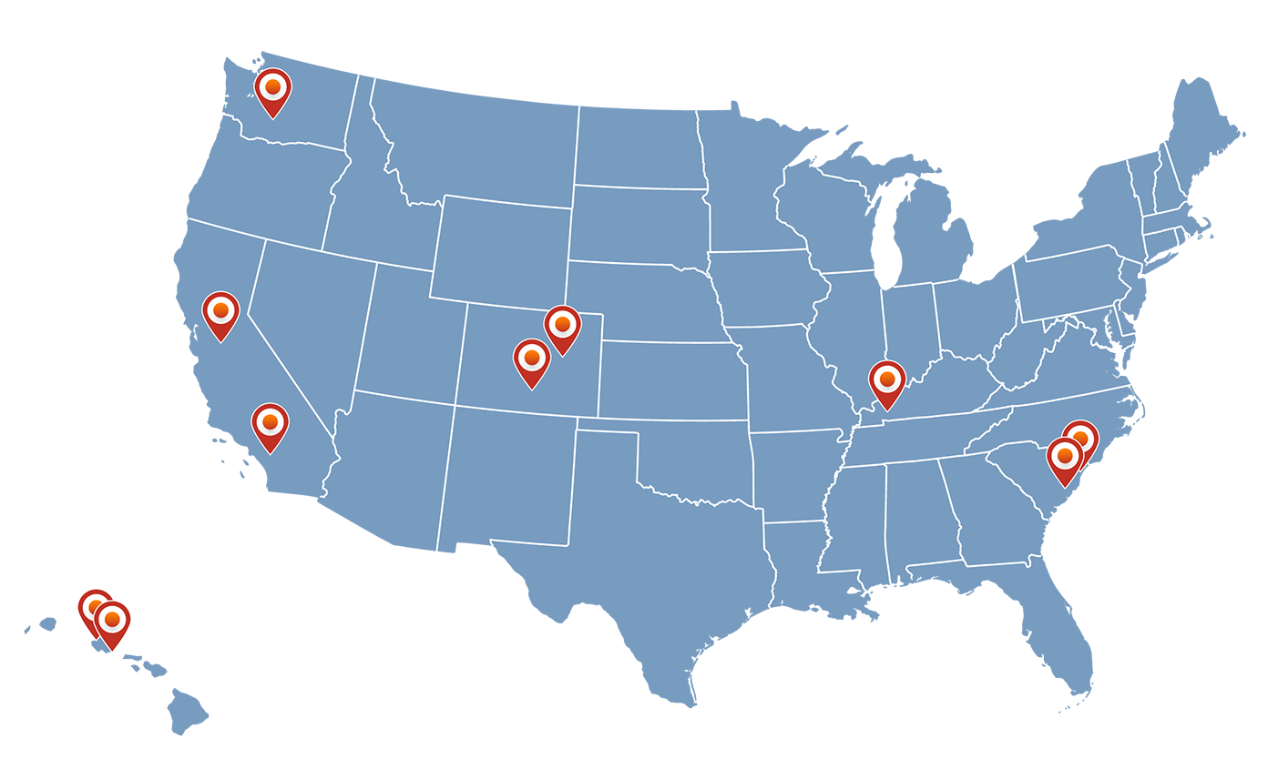 Transitioning Services Members map of events for FY20