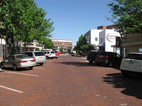 Angle parking in Garden City, Kansas