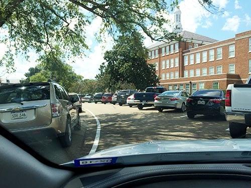 Angle parking in Ruston, Louisiana