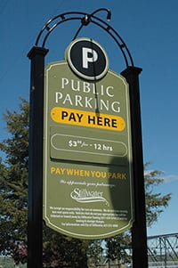 Public parking sign in Stillwater, MN