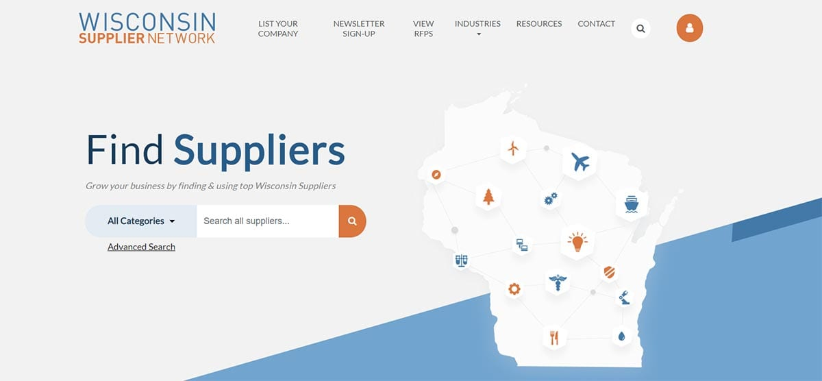 Screenshot of the Wisconsin Supplier Network