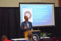 Basin Industries LLC Chief Commercial Officer Erik Anderson speaks at the 2019 Wisconsin Manufacturing and Technology Show