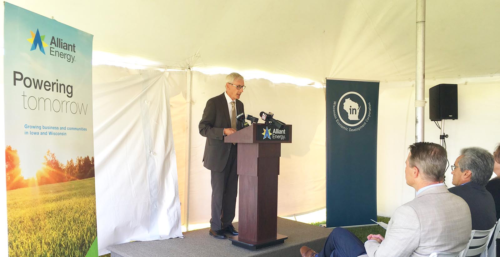 Wisconsin Gov. Tony Evers speaks at the Beaver Dam Commerce Park Certified Site announcement