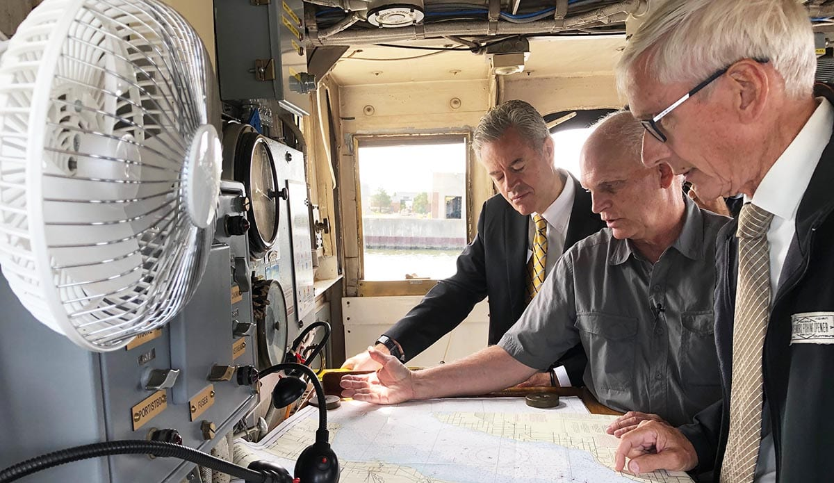 Wisconsin Gov. Tony Evers learned more aboard the Neeskay research vessel